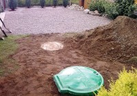 Nuotekų valymo sistema su ištekėjimu į esamą lietaus nuotekų šulinį